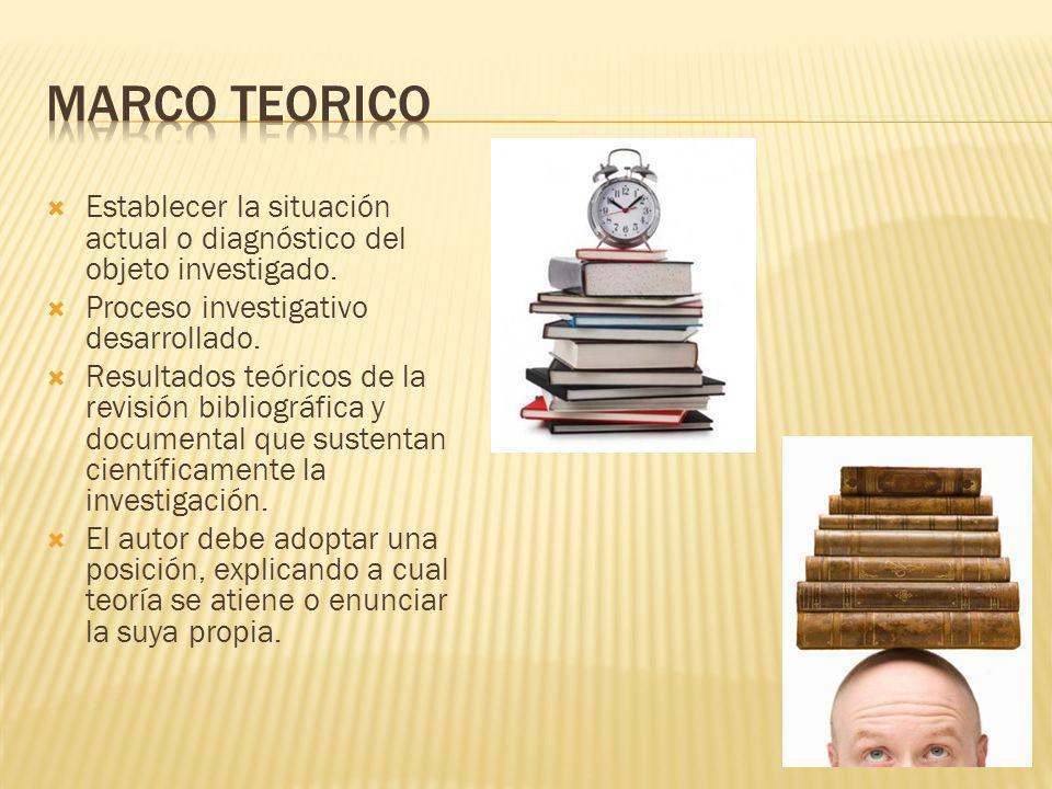 Establecer la situación actual o diagnóstico del objeto investigado. Proceso investigativo desarrollado. Resultados teóricos de la revisión bibliográf