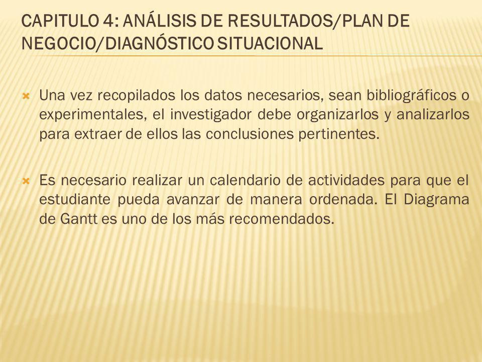 CAPITULO 4: ANÁLISIS DE RESULTADOS/PLAN DE NEGOCIO/DIAGNÓSTICO SITUACIONAL Una vez recopilados los datos necesarios, sean bibliográficos o experimenta