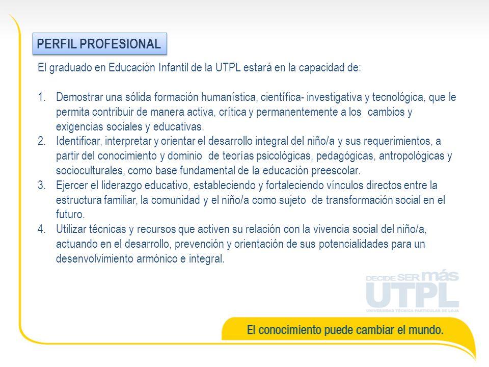 El graduado en Educación Infantil de la UTPL estará en la capacidad de: 1.Demostrar una sólida formación humanística, científica- investigativa y tecnológica, que le permita contribuir de manera activa, crítica y permanentemente a los cambios y exigencias sociales y educativas.