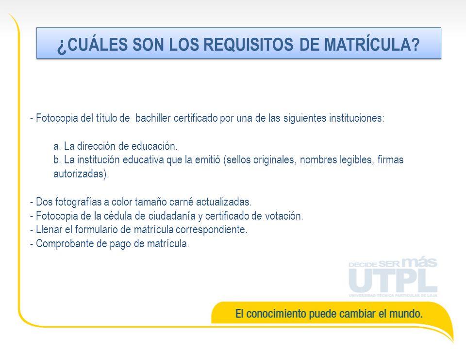 - Fotocopia del título de bachiller certificado por una de las siguientes instituciones: a.
