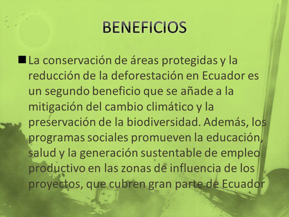 La conservación de áreas protegidas y la reducción de la deforestación en Ecuador es un segundo beneficio que se añade a la mitigación del cambio clim