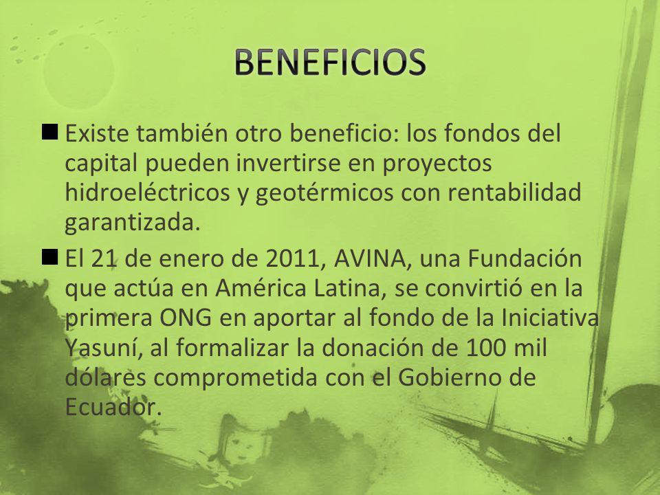 Existe también otro beneficio: los fondos del capital pueden invertirse en proyectos hidroeléctricos y geotérmicos con rentabilidad garantizada. El 21