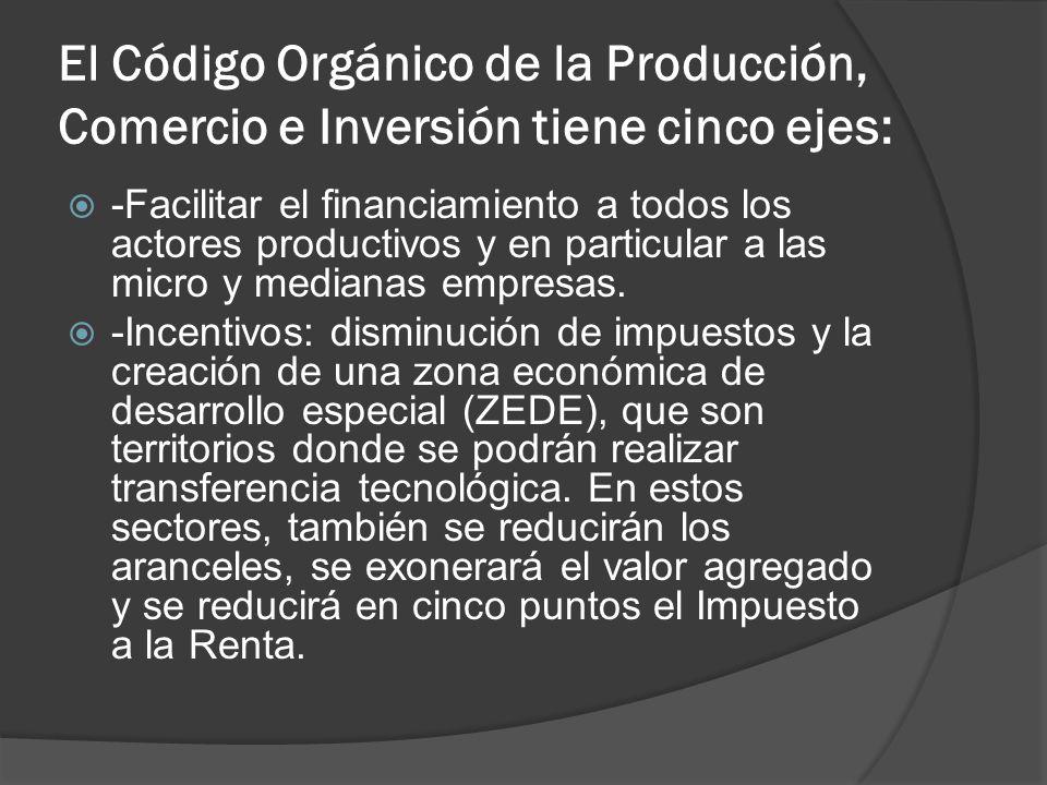 El Código Orgánico de la Producción, Comercio e Inversión tiene cinco ejes: -Facilitar el financiamiento a todos los actores productivos y en particul