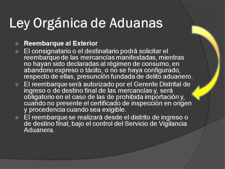 Ley Orgánica de Aduanas Reembarque al Exterior El consignatario o el destinatario podrá solicitar el reembarque de las mercancías manifestadas, mientr