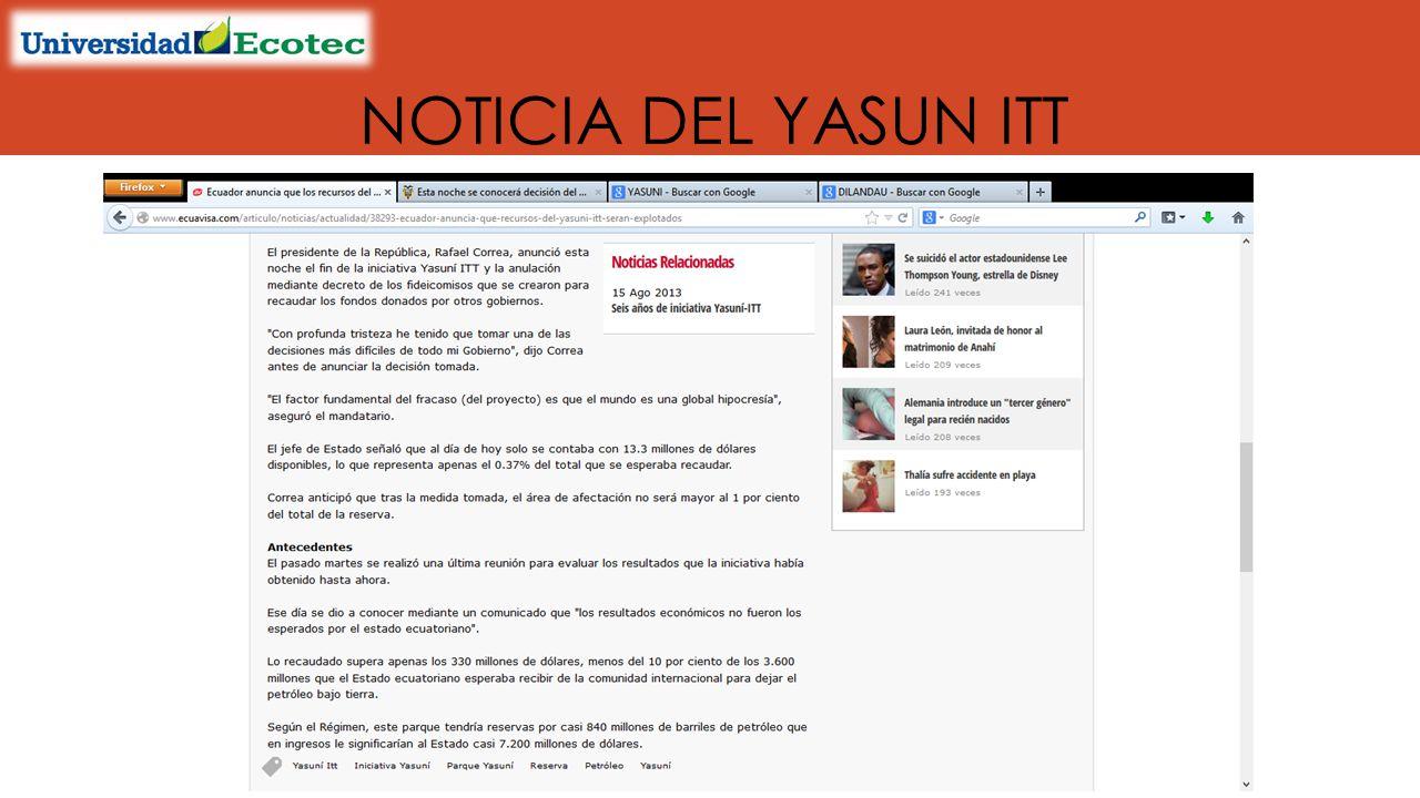 NOTICIA DEL YASUN ITT