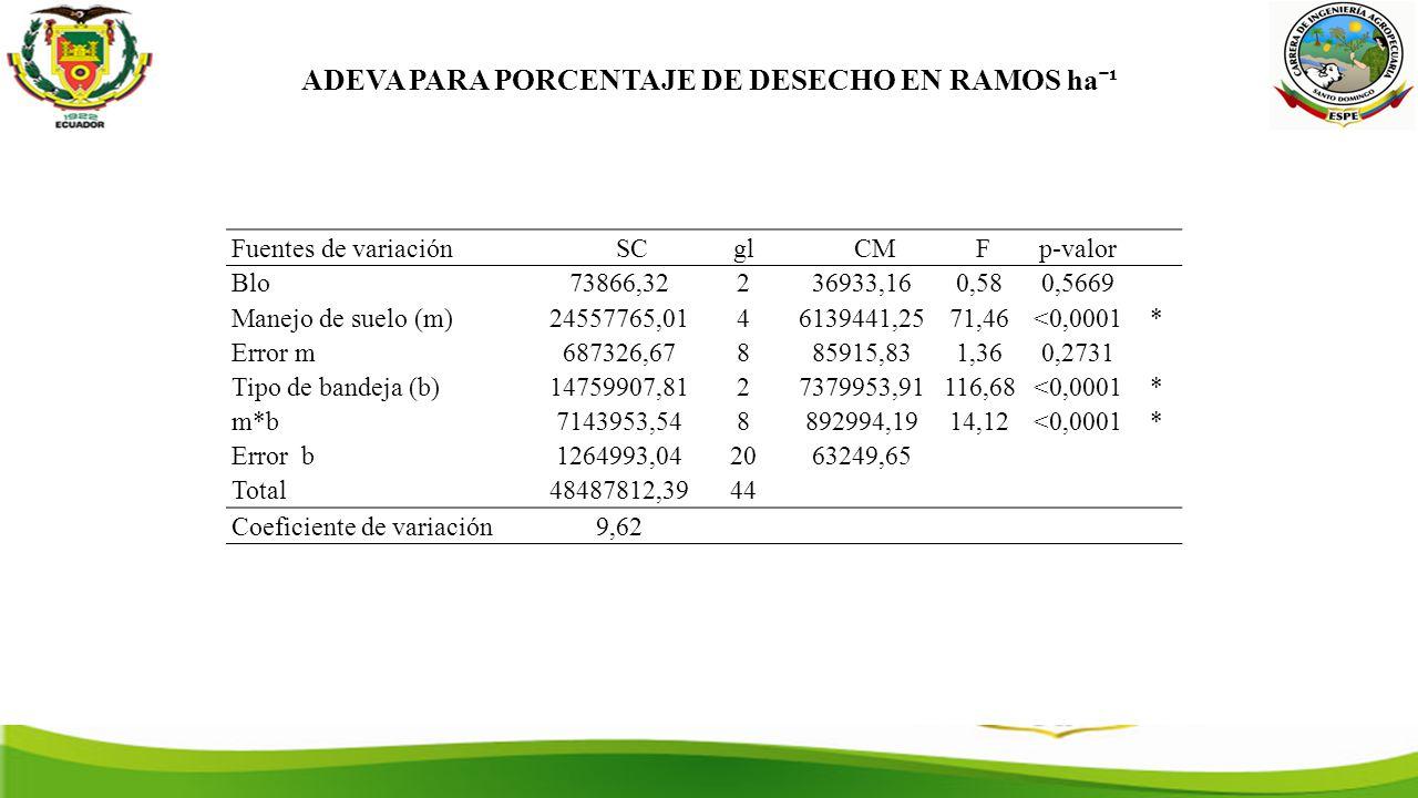 ADEVA PARA PORCENTAJE DE DESECHO EN RAMOS haˉ¹ Fuentes de variación SCgl CM Fp-valor Blo73866,32236933,160,580,5669 Manejo de suelo (m)24557765,0146139441,2571,46<0,0001* Error m687326,67885915,831,360,2731 Tipo de bandeja (b)14759907,8127379953,91116,68<0,0001* m*b7143953,548892994,1914,12<0,0001* Error b1264993,042063249,65 Total48487812,3944 Coeficiente de variación9,62