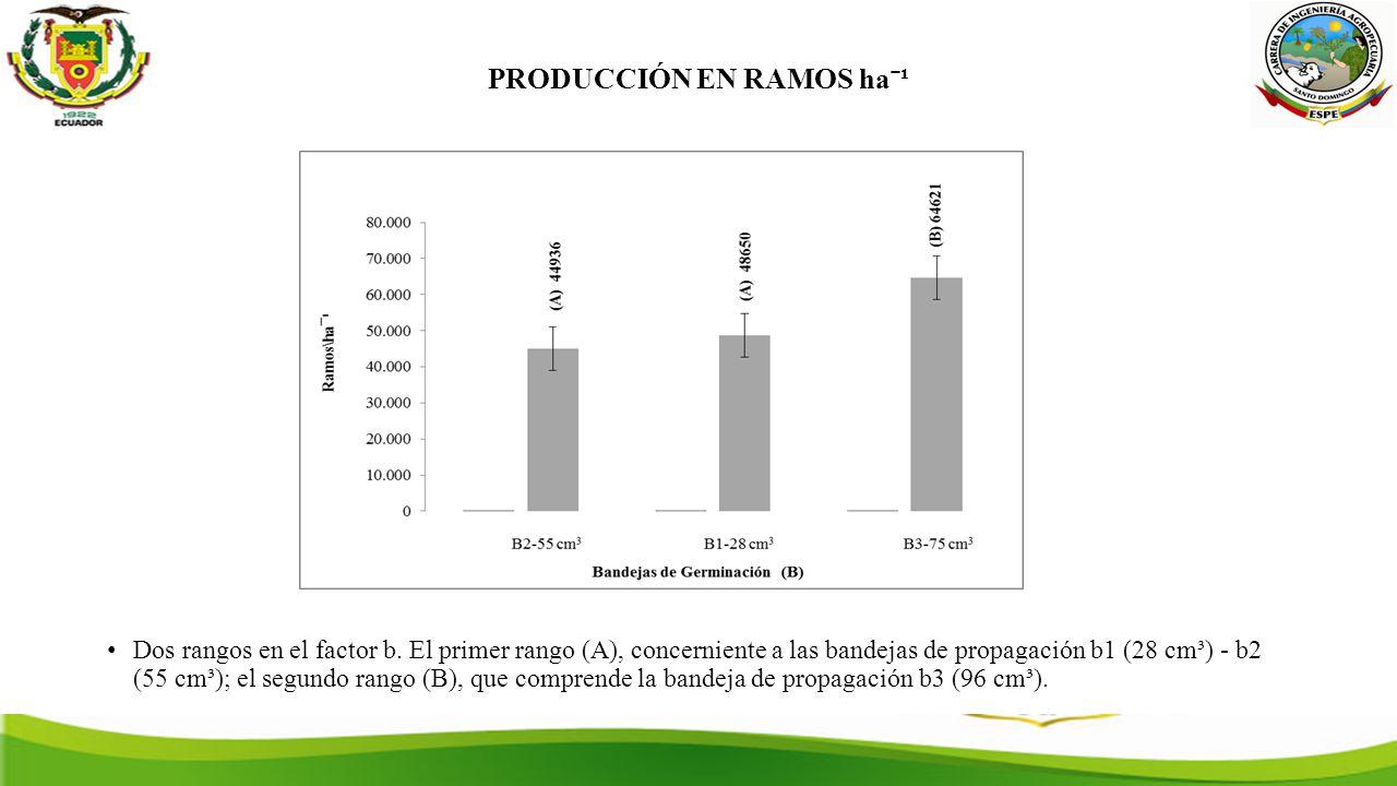 PRODUCCIÓN EN RAMOS haˉ¹ Dos rangos en el factor b.