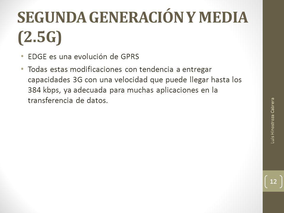 SEGUNDA GENERACIÓN Y MEDIA (2.5G) EDGE es una evolución de GPRS Todas estas modificaciones con tendencia a entregar capacidades 3G con una velocidad que puede llegar hasta los 384 kbps, ya adecuada para muchas aplicaciones en la transferencia de datos.