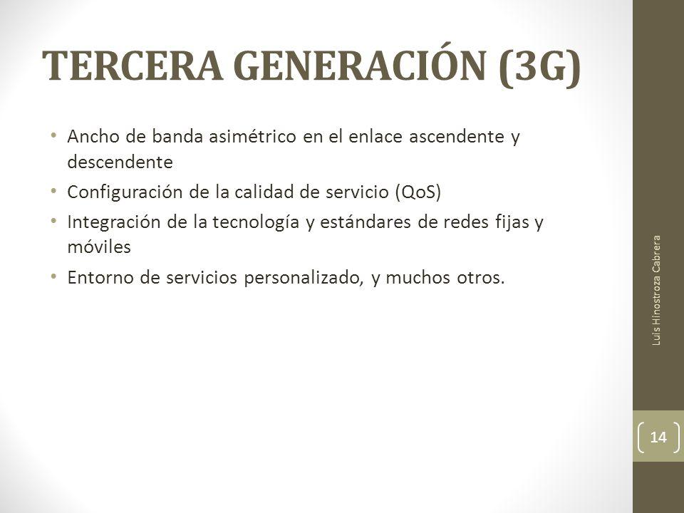 TERCERA GENERACIÓN (3G) Ancho de banda asimétrico en el enlace ascendente y descendente Configuración de la calidad de servicio (QoS) Integración de la tecnología y estándares de redes fijas y móviles Entorno de servicios personalizado, y muchos otros.