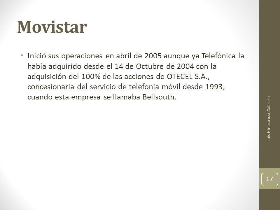 Movistar Inició sus operaciones en abril de 2005 aunque ya Telefónica la había adquirido desde el 14 de Octubre de 2004 con la adquisición del 100% de las acciones de OTECEL S.A., concesionaria del servicio de telefonía móvil desde 1993, cuando esta empresa se llamaba Bellsouth.