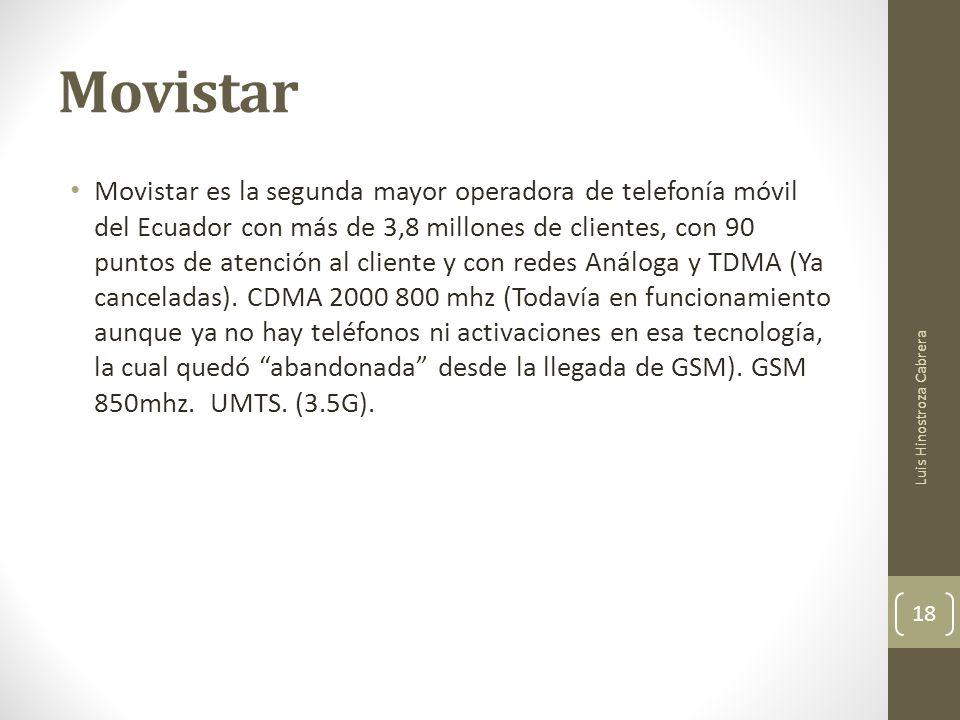 Movistar Movistar es la segunda mayor operadora de telefonía móvil del Ecuador con más de 3,8 millones de clientes, con 90 puntos de atención al cliente y con redes Análoga y TDMA (Ya canceladas).