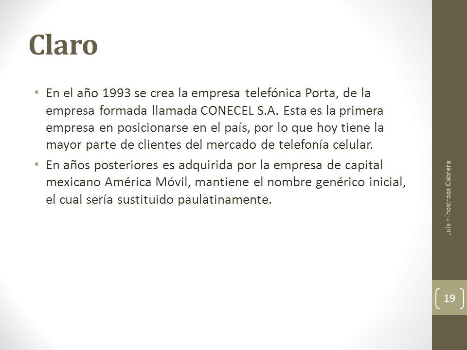 Claro En el año 1993 se crea la empresa telefónica Porta, de la empresa formada llamada CONECEL S.A.