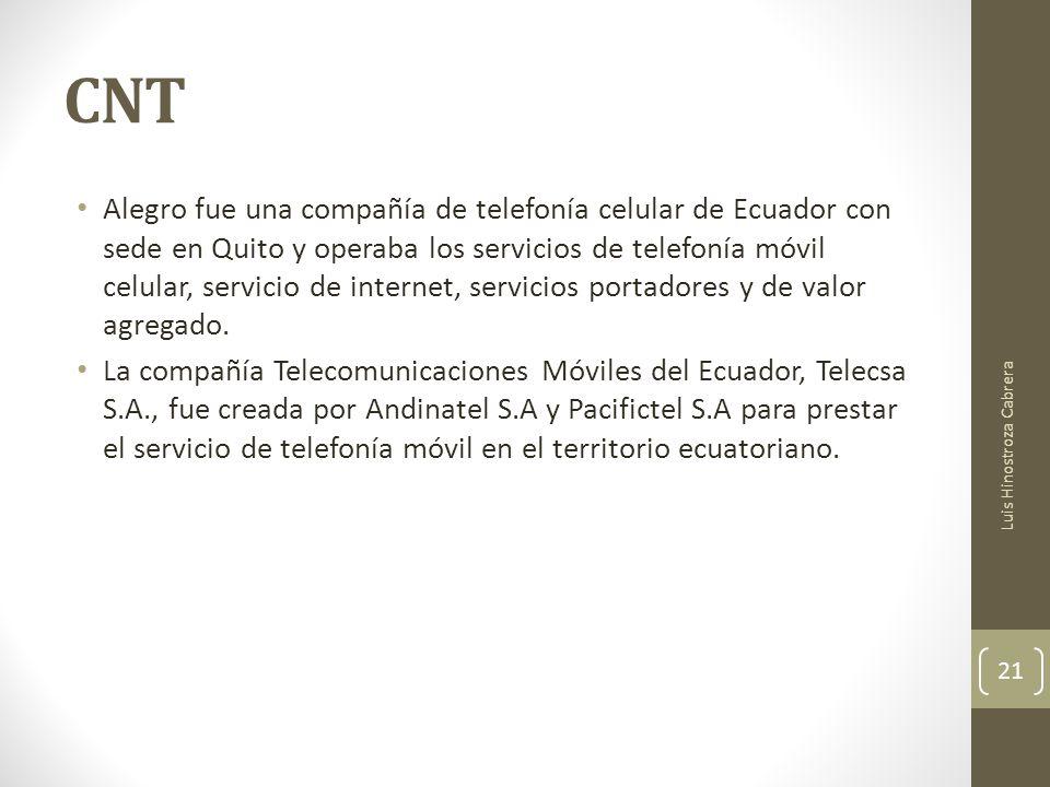 CNT Alegro fue una compañía de telefonía celular de Ecuador con sede en Quito y operaba los servicios de telefonía móvil celular, servicio de internet, servicios portadores y de valor agregado.