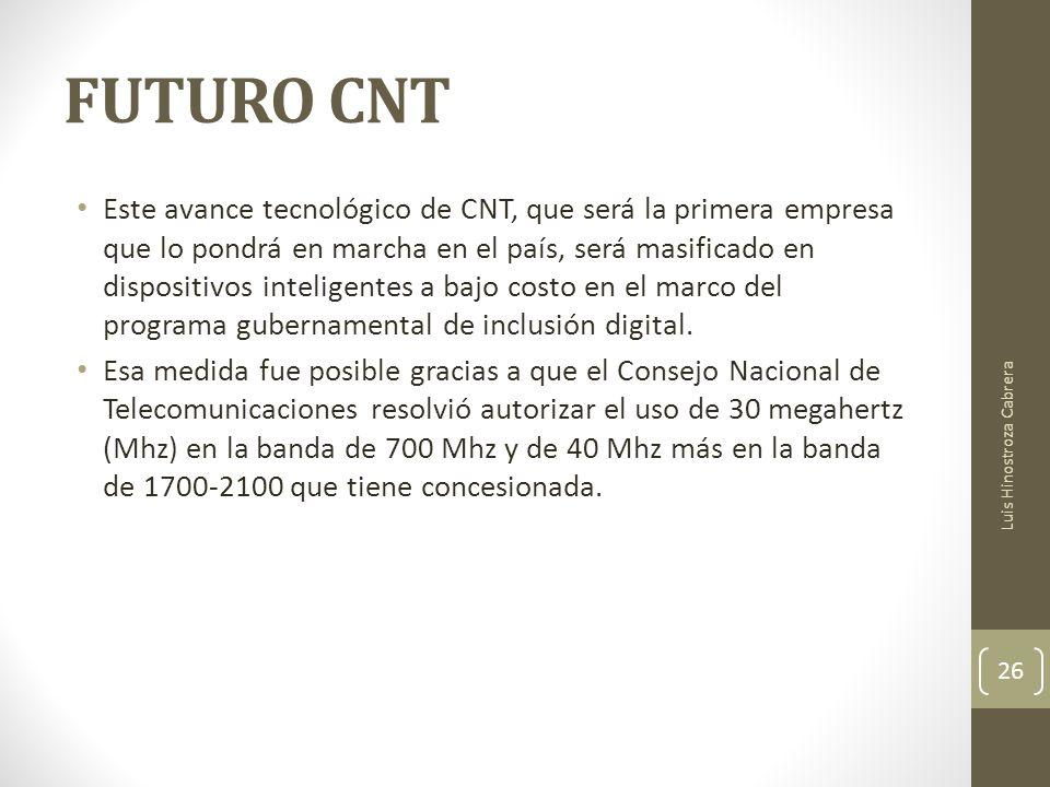 FUTURO CNT Este avance tecnológico de CNT, que será la primera empresa que lo pondrá en marcha en el país, será masificado en dispositivos inteligentes a bajo costo en el marco del programa gubernamental de inclusión digital.
