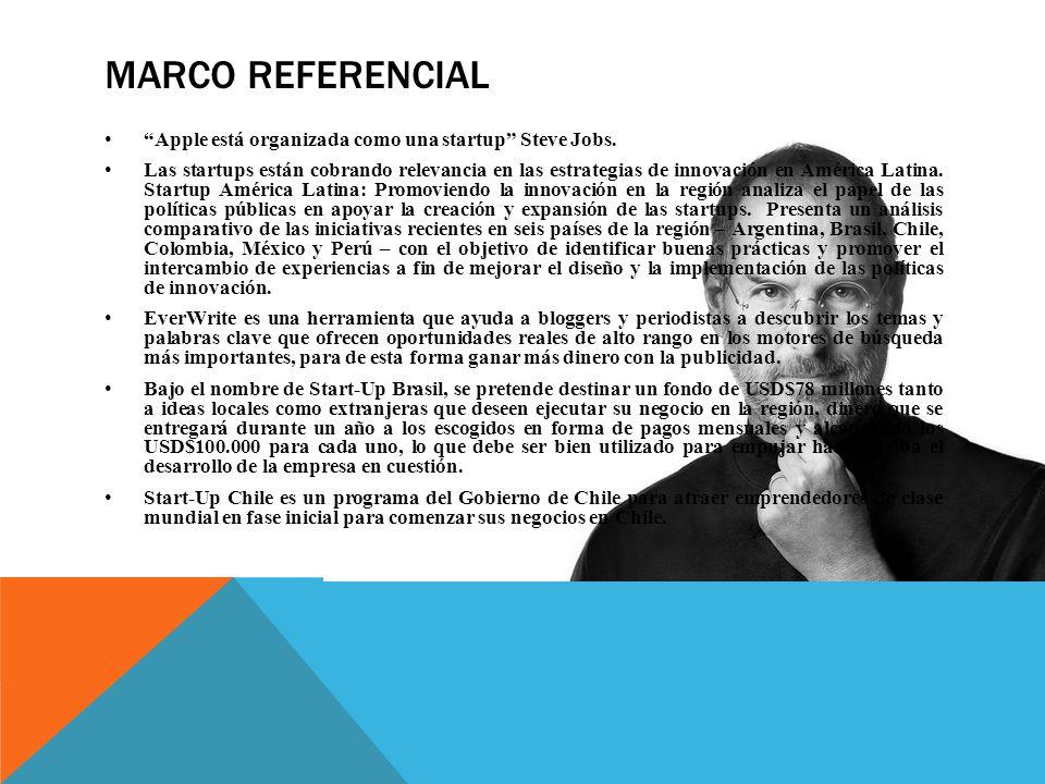 MARCO REFERENCIAL Apple está organizada como una startup Steve Jobs.
