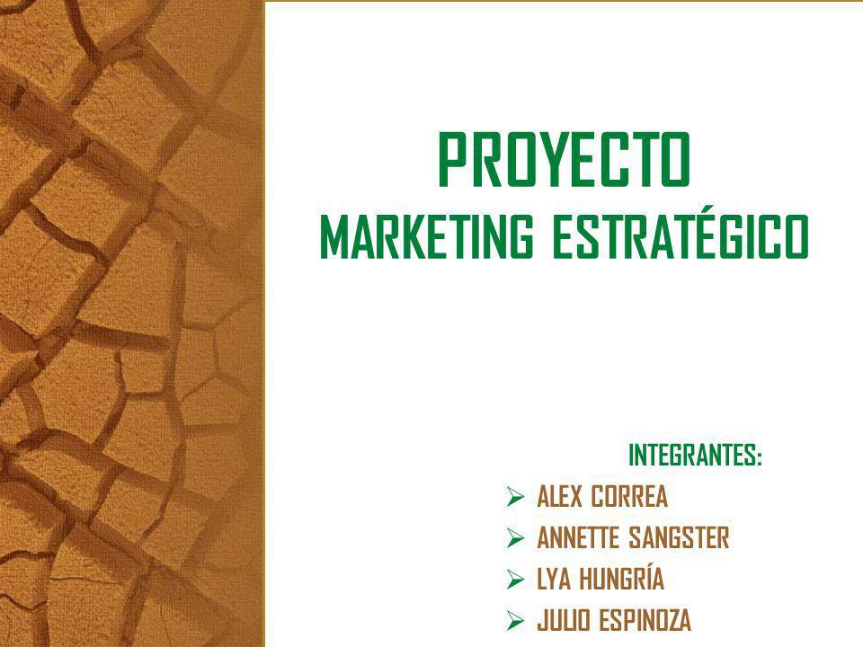 PROYECTO MARKETING ESTRATÉGICO INTEGRANTES: ALEX CORREA ANNETTE SANGSTER LYA HUNGRÍA JULIO ESPINOZA