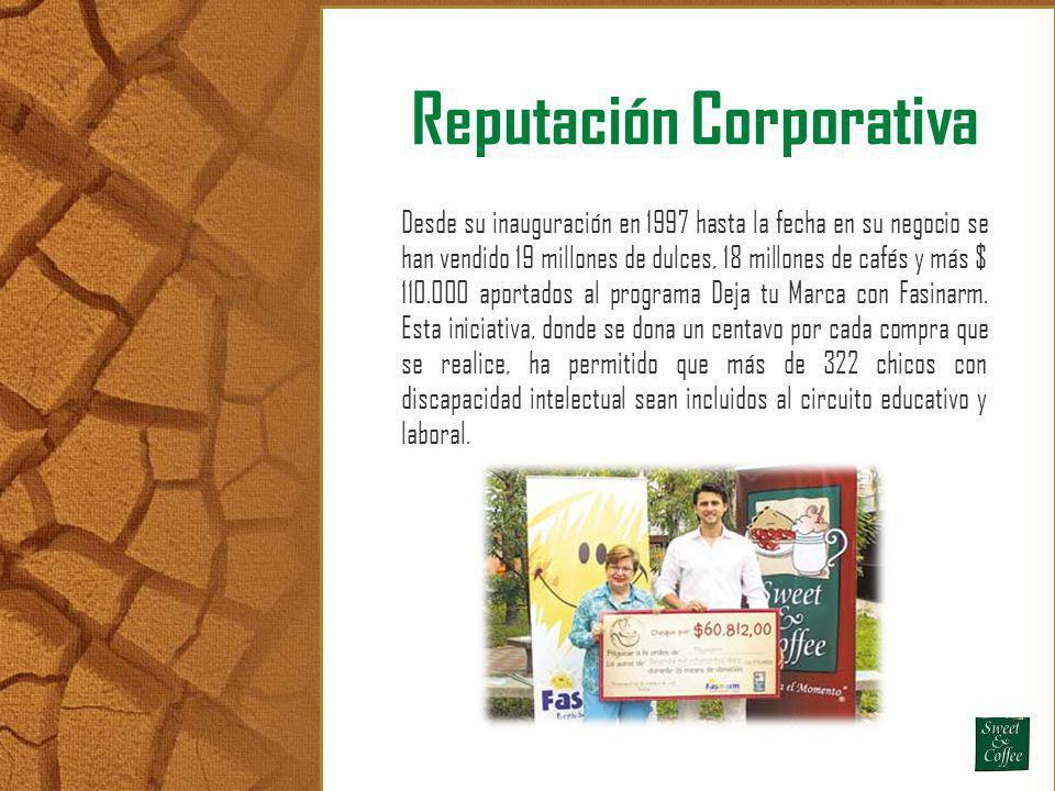 Reputación Corporativa Desde su inauguración en 1997 hasta la fecha en su negocio se han vendido 19 millones de dulces, 18 millones de cafés y más $ 1