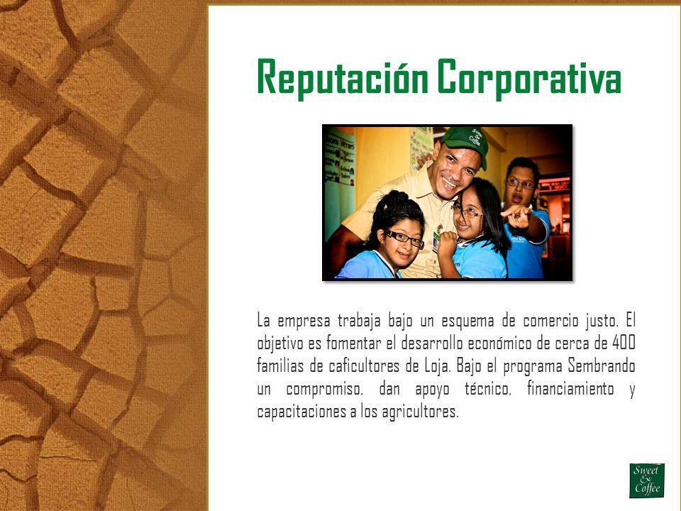 Reputación Corporativa La empresa trabaja bajo un esquema de comercio justo. El objetivo es fomentar el desarrollo económico de cerca de 400 familias