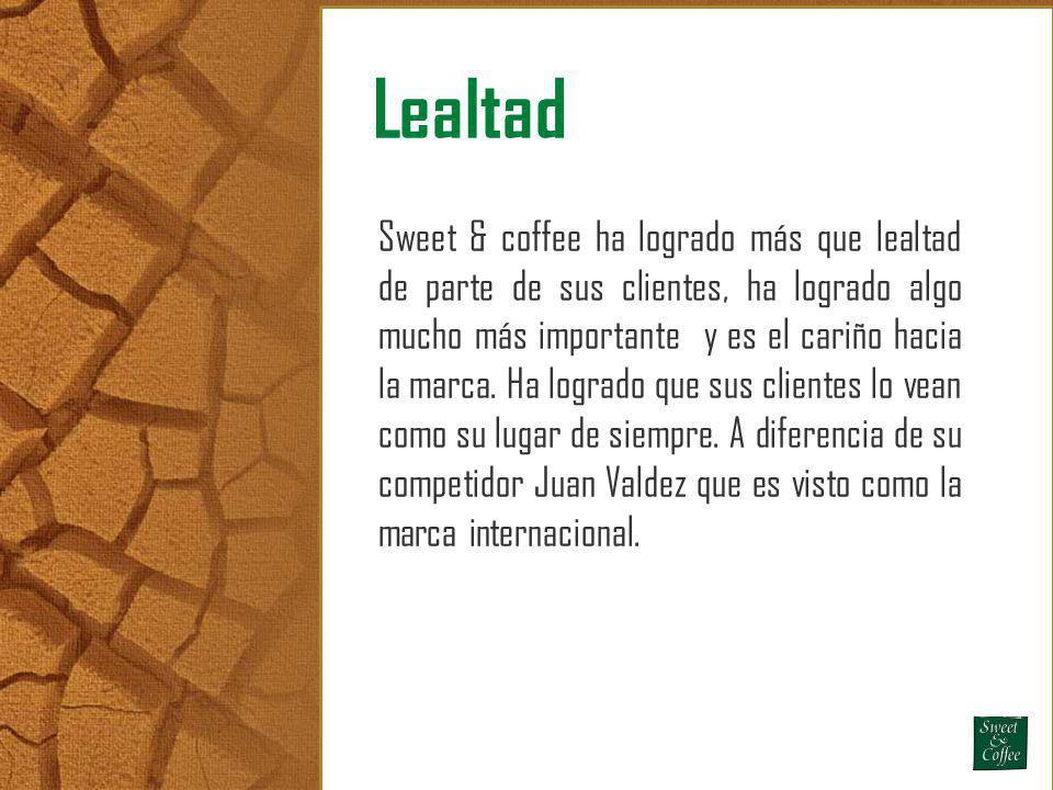 Lealtad Sweet & coffee ha logrado más que lealtad de parte de sus clientes, ha logrado algo mucho más importante y es el cariño hacia la marca. Ha log