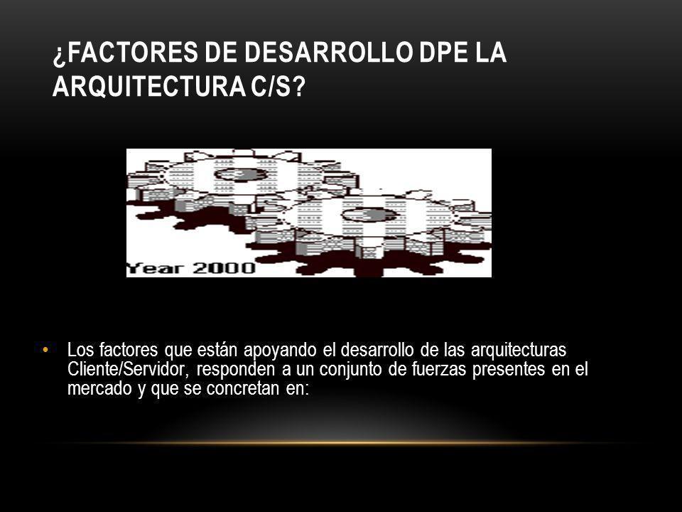 ¿FACTORES DE DESARROLLO DPE LA ARQUITECTURA C/S? Los factores que están apoyando el desarrollo de las arquitecturas Cliente/Servidor, responden a un c