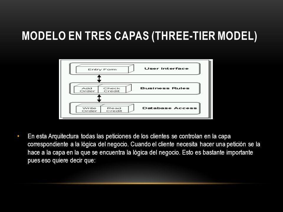 MODELO EN TRES CAPAS (THREE-TIER MODEL) En esta Arquitectura todas las peticiones de los clientes se controlan en la capa correspondiente a la lógica