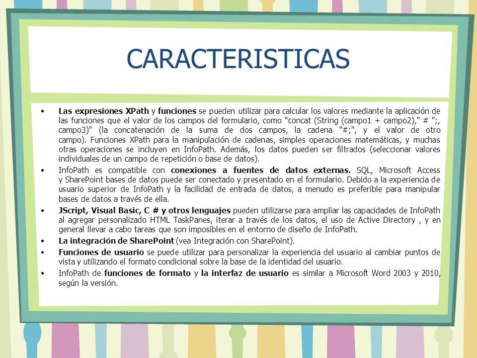 CARACTERISTICAS Las expresiones XPath y funciones se pueden utilizar para calcular los valores mediante la aplicación de las funciones que el valor de