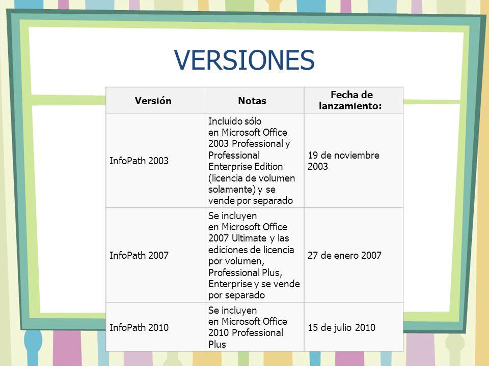 VERSIONES VersiónNotas Fecha de lanzamiento: InfoPath 2003 Incluido sólo en Microsoft Office 2003 Professional y Professional Enterprise Edition (lice