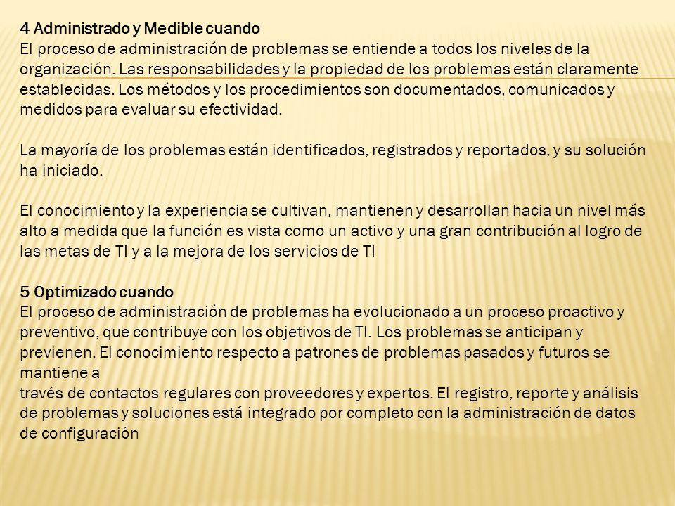 4 Administrado y Medible cuando El proceso de administración de problemas se entiende a todos los niveles de la organización. Las responsabilidades y