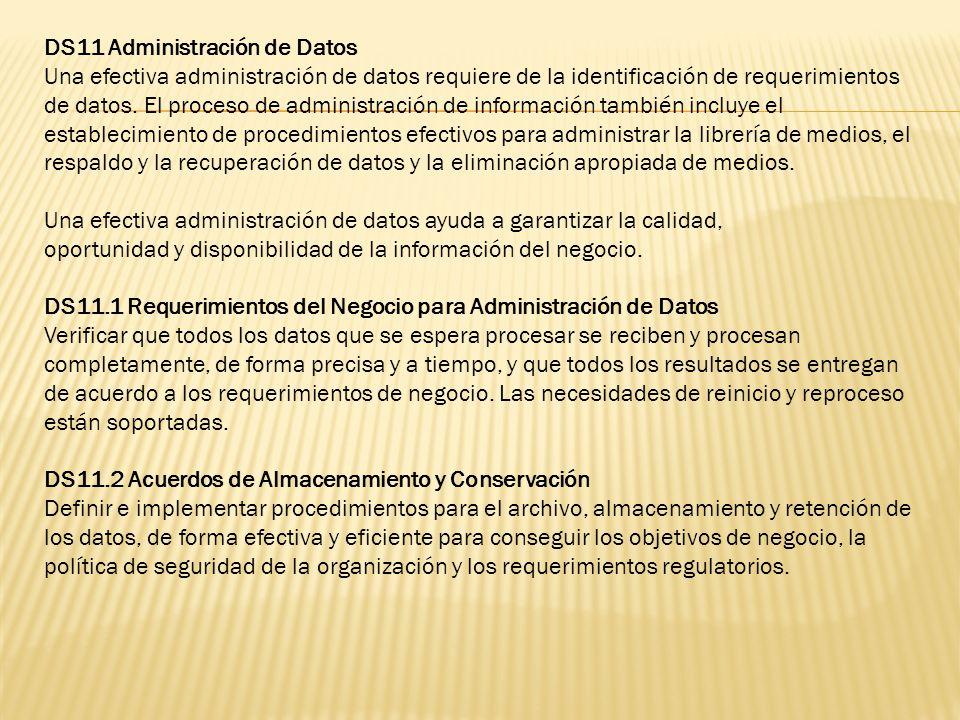 DS11 Administración de Datos Una efectiva administración de datos requiere de la identificación de requerimientos de datos. El proceso de administraci