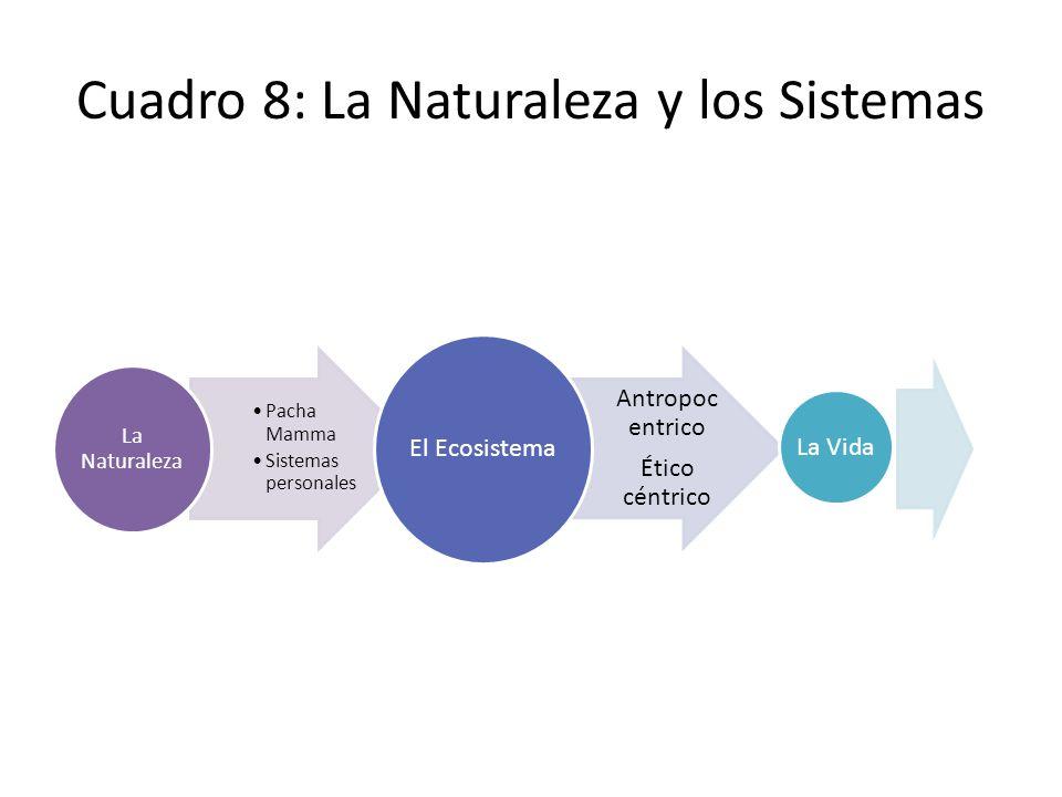 Cuadro 8: La Naturaleza y los Sistemas Pacha Mamma Sistemas personales La Naturaleza Antropoc entrico Ético céntrico El Ecosistema La Vida