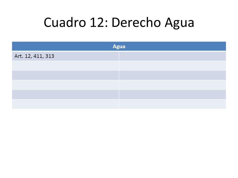 Cuadro 12: Derecho Agua Agua Art. 12, 411, 313