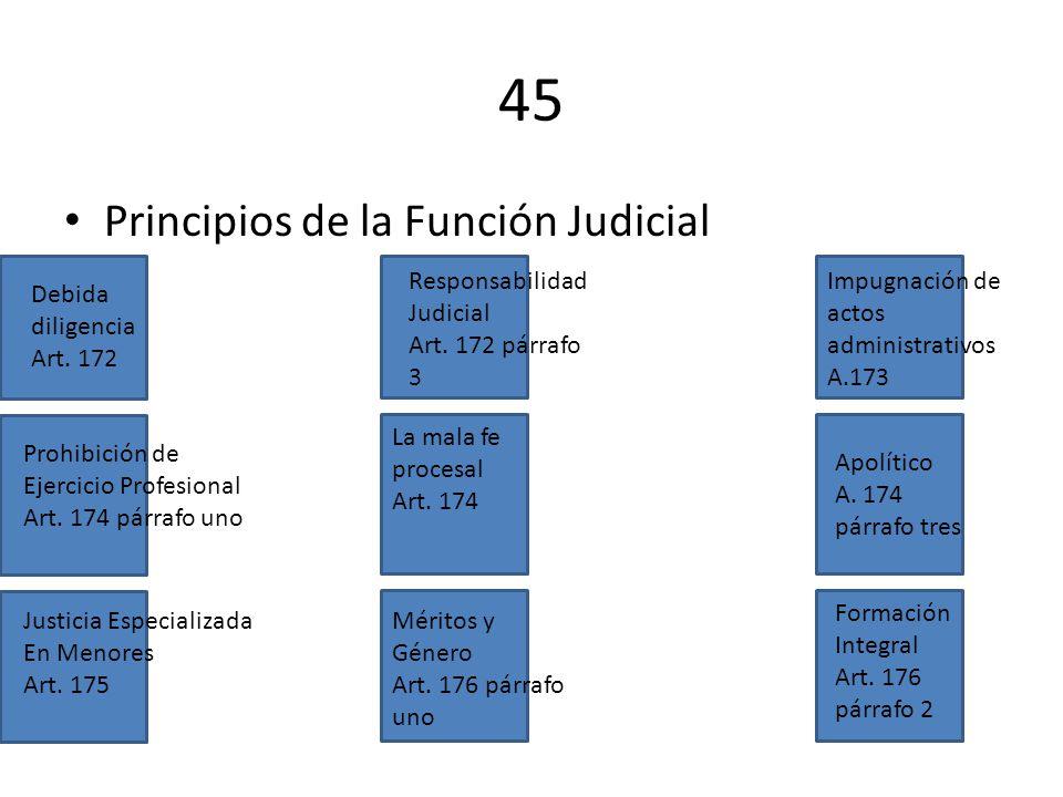 45 Principios de la Función Judicial Debida diligencia Art. 172 Responsabilidad Judicial Art. 172 párrafo 3 Impugnación de actos administrativos A.173