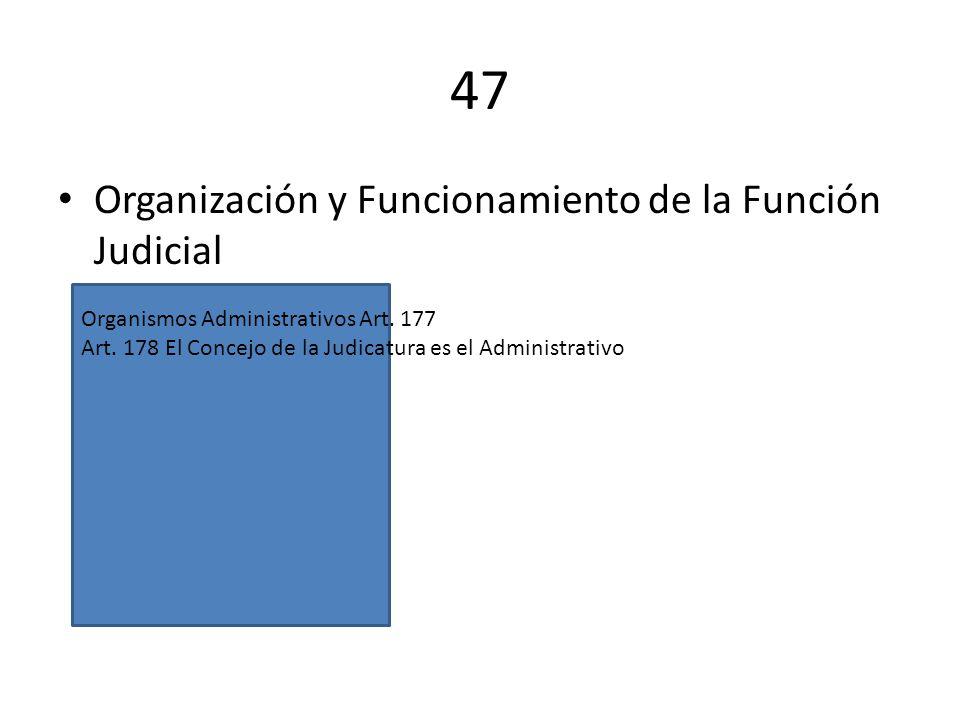 47 Organización y Funcionamiento de la Función Judicial Organismos Administrativos Art. 177 Art. 178 El Concejo de la Judicatura es el Administrativo