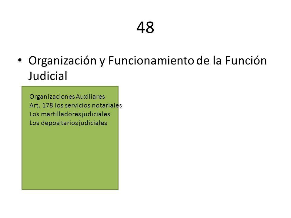48 Organización y Funcionamiento de la Función Judicial Organizaciones Auxiliares Art. 178 los servicios notariales Los martilladores judiciales Los d