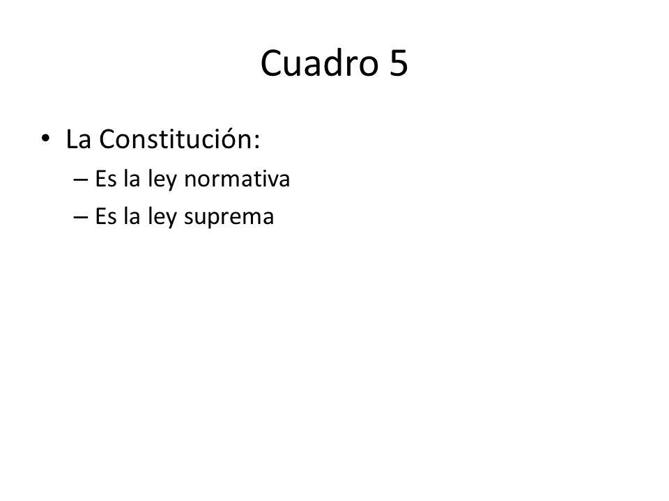 Cuadro 5 La Constitución: – Es la ley normativa – Es la ley suprema