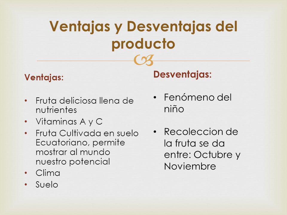 Ventajas: Fruta deliciosa llena de nutrientes Vitaminas A y C Fruta Cultivada en suelo Ecuatoriano, permite mostrar al mundo nuestro potencial Clima S