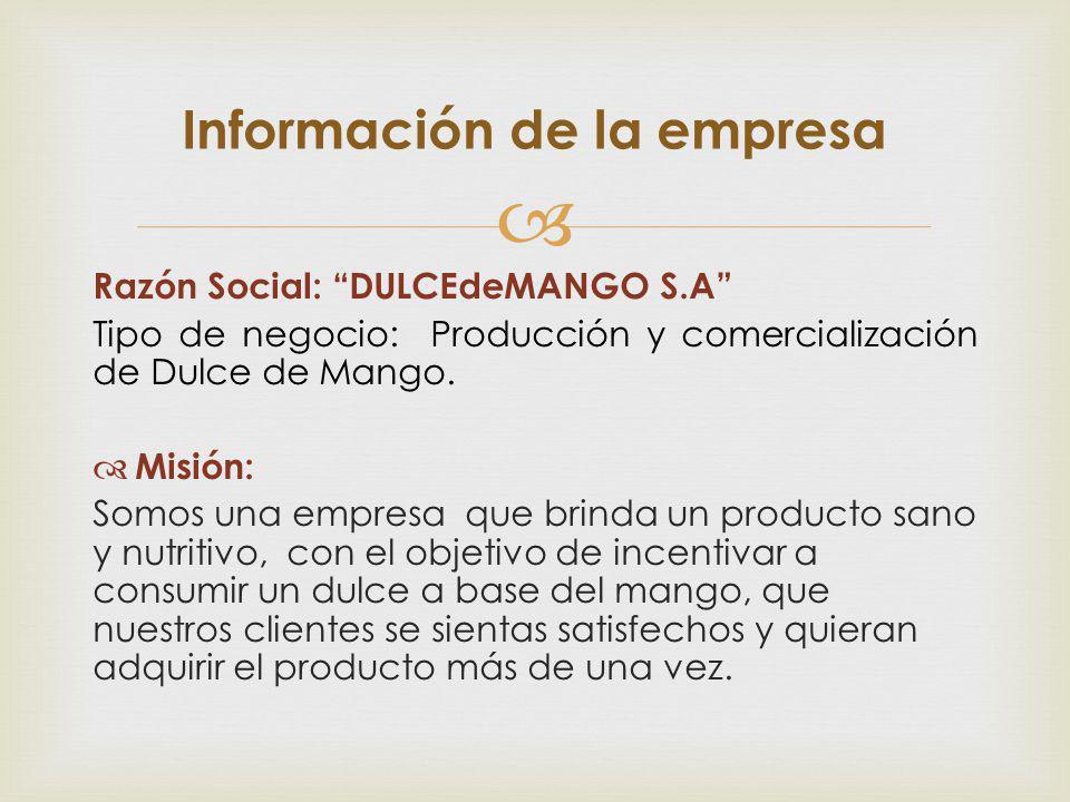 Razón Social: DULCEdeMANGO S.A Tipo de negocio: Producción y comercialización de Dulce de Mango. Misión: Somos una empresa que brinda un producto sano