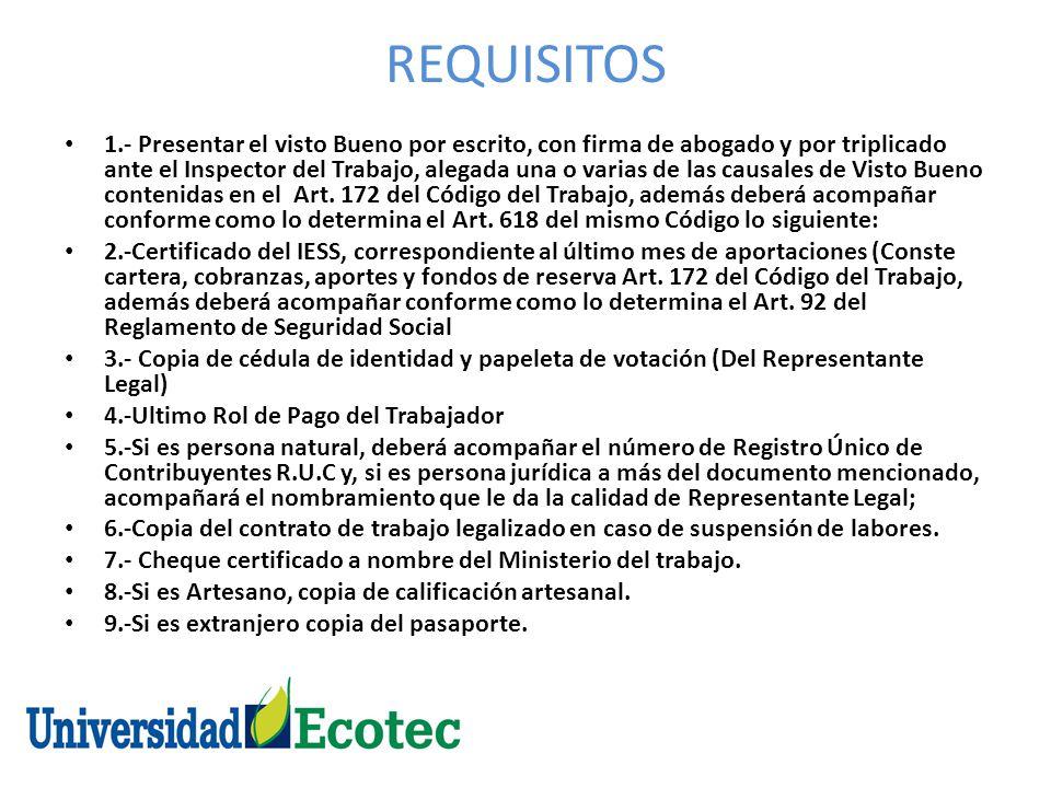 REQUISITOS 1.- Presentar el visto Bueno por escrito, con firma de abogado y por triplicado ante el Inspector del Trabajo, alegada una o varias de las