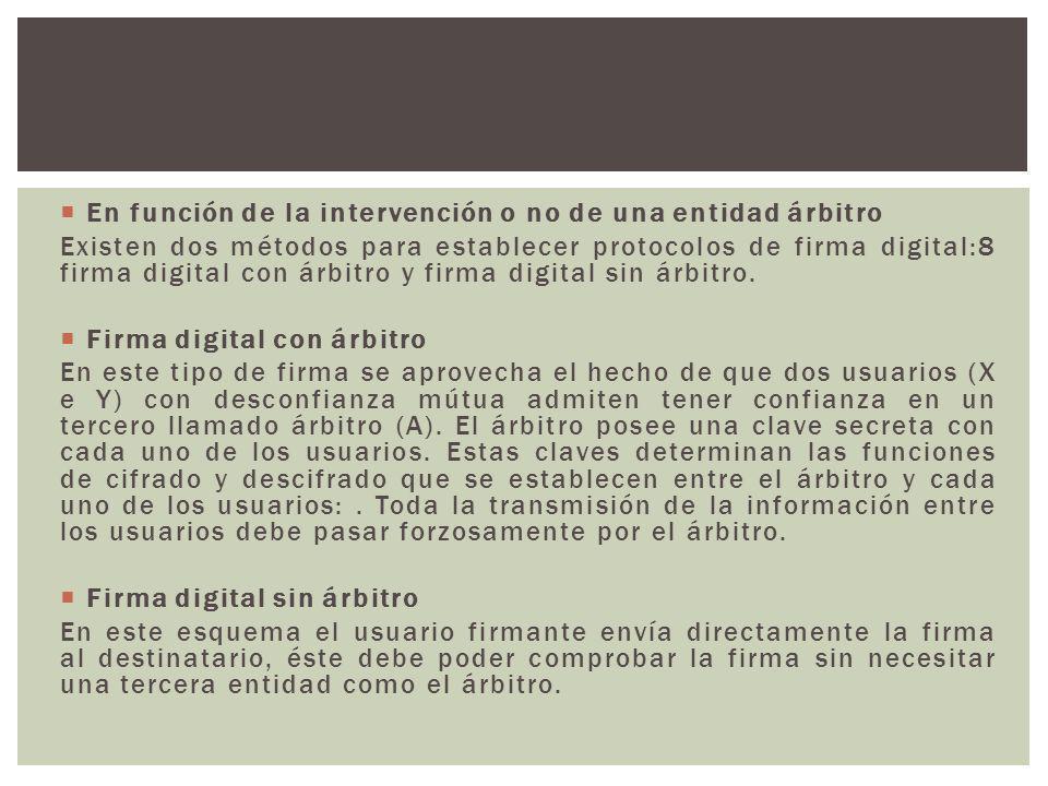 En función de la intervención o no de una entidad árbitro Existen dos métodos para establecer protocolos de firma digital:8 firma digital con árbitro
