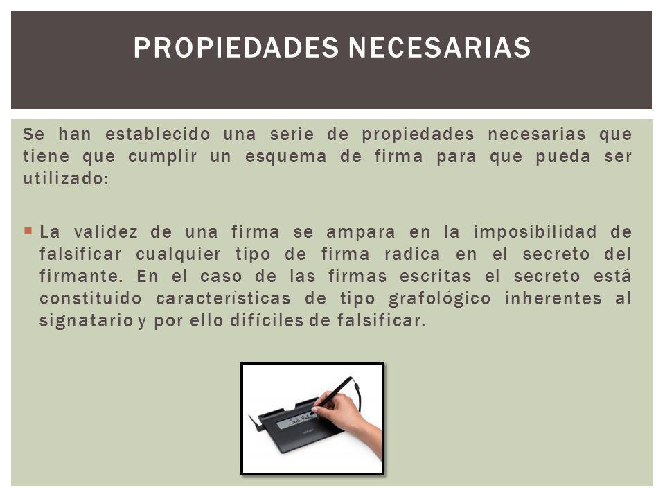 Se han establecido una serie de propiedades necesarias que tiene que cumplir un esquema de firma para que pueda ser utilizado: La validez de una firma