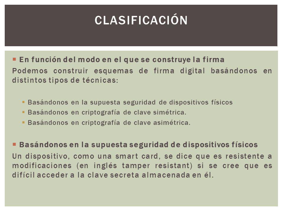 En función del modo en el que se construye la firma Podemos construir esquemas de firma digital basándonos en distintos tipos de técnicas: Basándonos