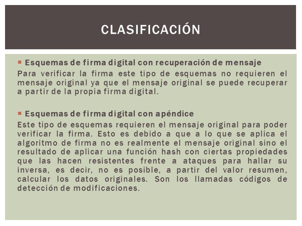 Esquemas de firma digital con recuperación de mensaje Para verificar la firma este tipo de esquemas no requieren el mensaje original ya que el mensaje