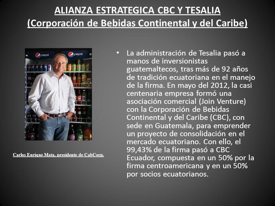 ALIANZA ESTRATEGICA CBC Y TESALIA (Corporación de Bebidas Continental y del Caribe) La administración de Tesalia pasó a manos de inversionistas guatem