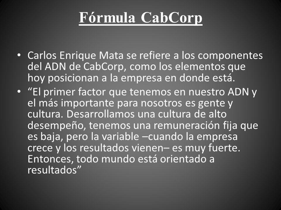 Fórmula CabCorp Carlos Enrique Mata se refiere a los componentes del ADN de CabCorp, como los elementos que hoy posicionan a la empresa en donde está.