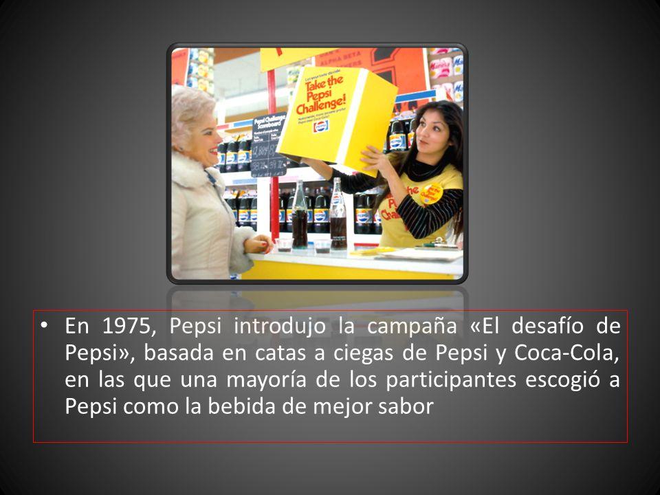 En 1975, Pepsi introdujo la campaña «El desafío de Pepsi», basada en catas a ciegas de Pepsi y Coca-Cola, en las que una mayoría de los participantes