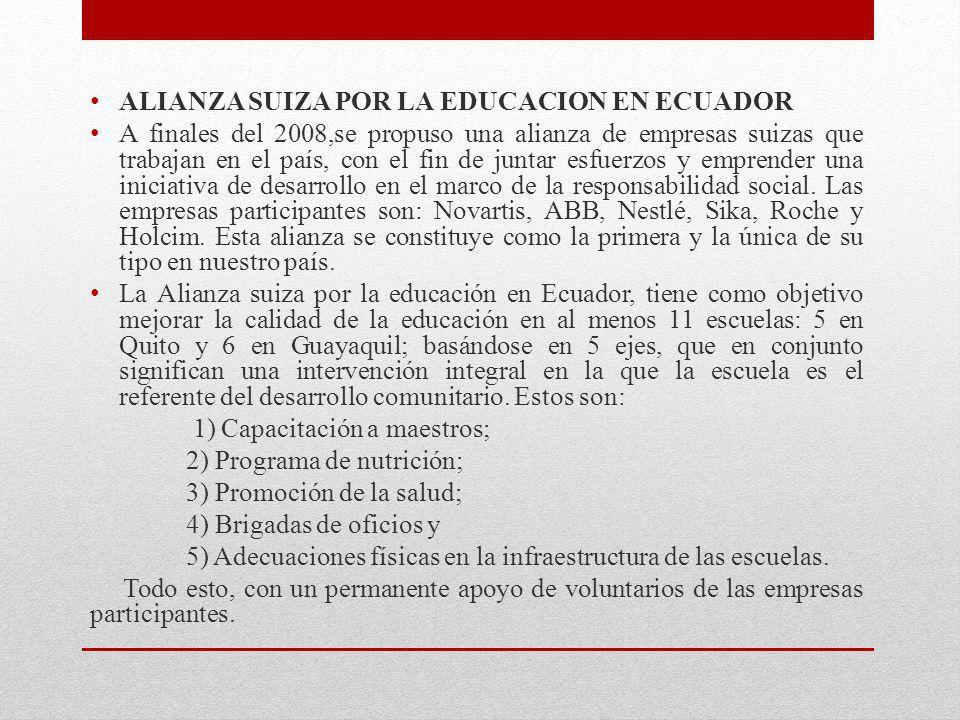 ALIANZA SUIZA POR LA EDUCACION EN ECUADOR A finales del 2008,se propuso una alianza de empresas suizas que trabajan en el país, con el fin de juntar e