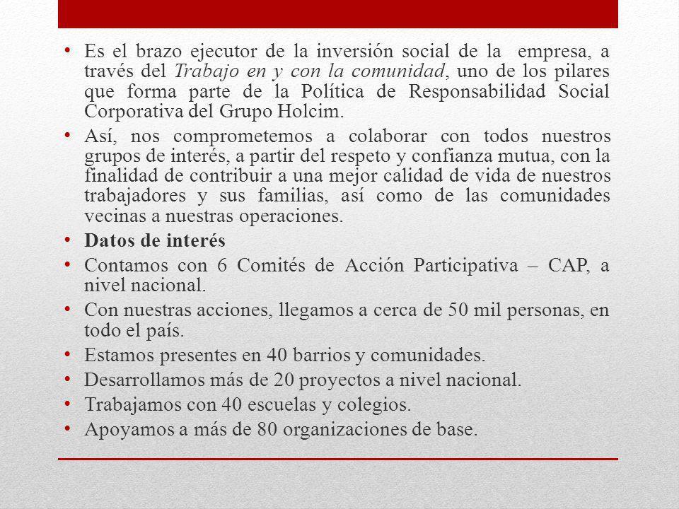 Programas de Responsabilidad Social Programa de desarrollo comunitario A través de este programa, contribuimos al desarrollo de las comunidades aledañas a las operaciones de Holcim Ecuador en el país, mediante la ejecución de proyectos concertados con la población.