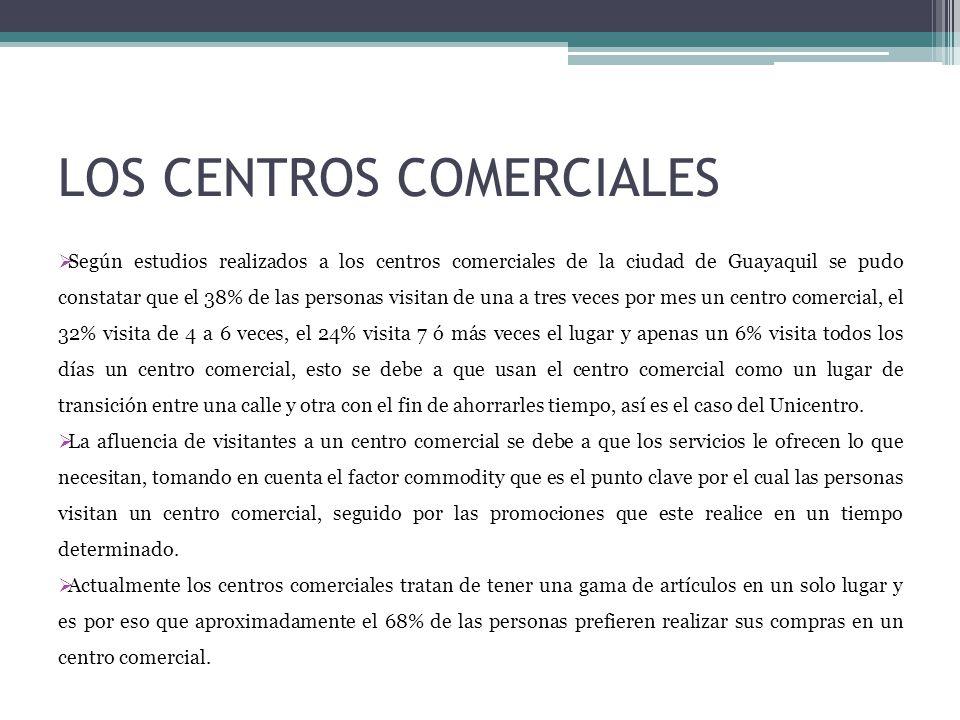 LOS CENTROS COMERCIALES Según estudios realizados a los centros comerciales de la ciudad de Guayaquil se pudo constatar que el 38% de las personas vis