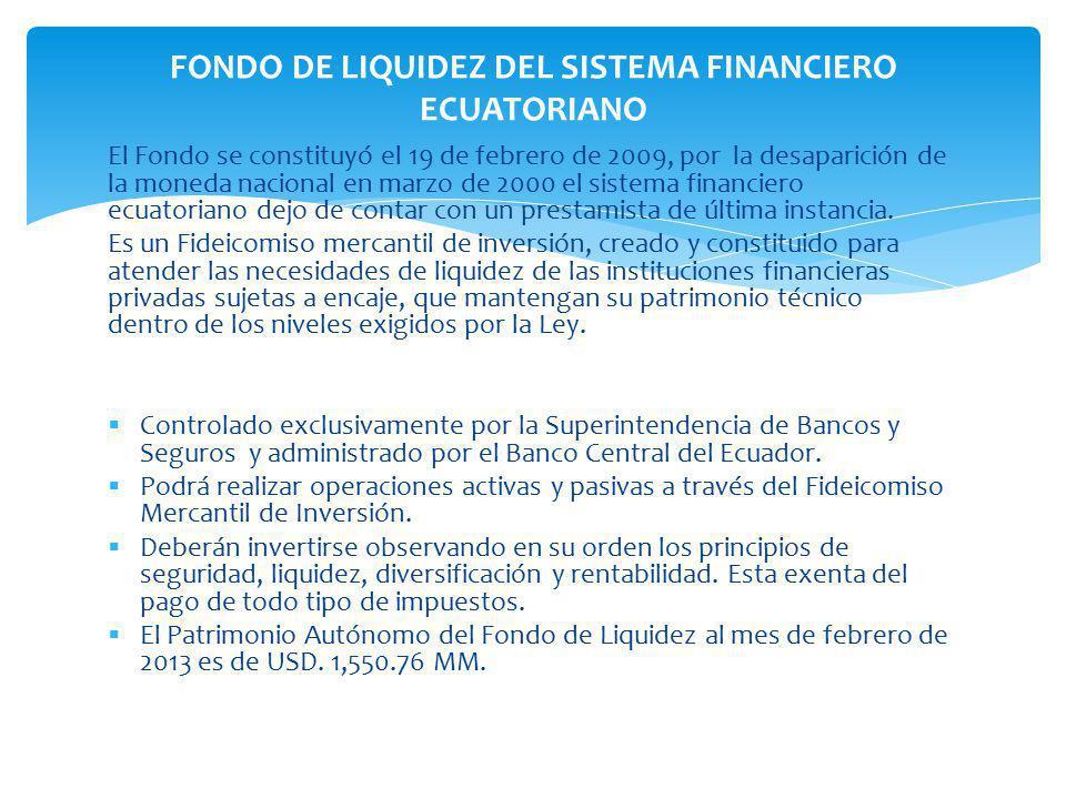 El Fondo se constituyó el 19 de febrero de 2009, por la desaparición de la moneda nacional en marzo de 2000 el sistema financiero ecuatoriano dejo de contar con un prestamista de última instancia.