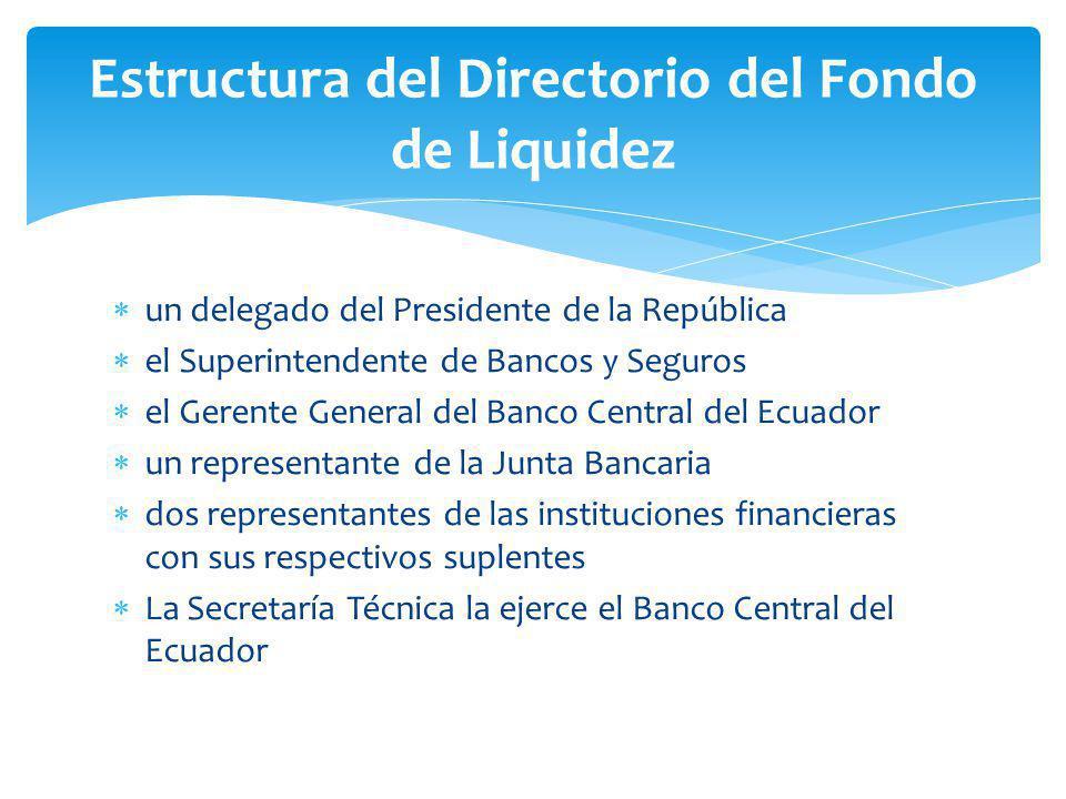 un delegado del Presidente de la República el Superintendente de Bancos y Seguros el Gerente General del Banco Central del Ecuador un representante de la Junta Bancaria dos representantes de las instituciones financieras con sus respectivos suplentes La Secretaría Técnica la ejerce el Banco Central del Ecuador Estructura del Directorio del Fondo de Liquidez